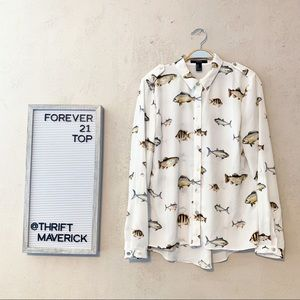 Fish Print Novelty Button Front Top | Forever 21